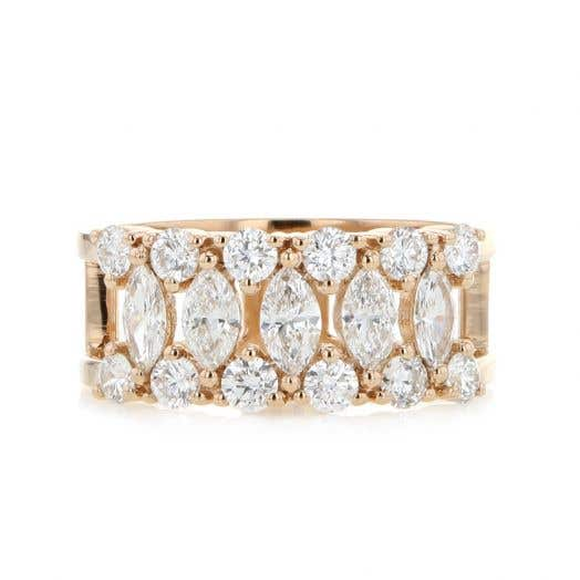 Rose Gold Round and Marquise Diamond Band Ring