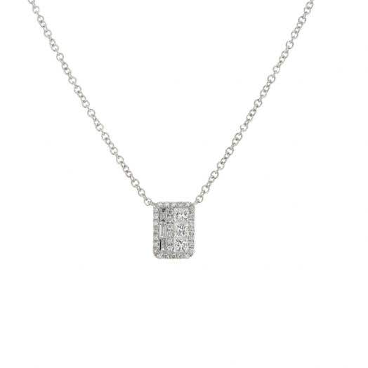 White Gold Multi Shaped Diamond Pendant