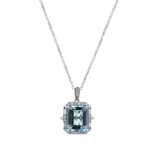 14K White Gold Emerald-Cut Aquamarine Pendant Necklace with Diamond Halo
