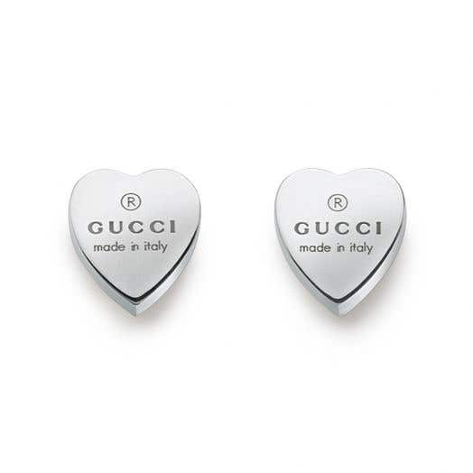 sterling silver heart shaped stud earrings with gucci logo