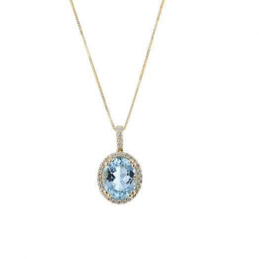 14K Yellow Gold Oval-Cut Aquamarine Pendant Necklace with Diamond Halo