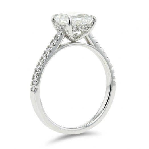 1.70 Carat Square Emerald-Cut Diamond Engagement Ring with Hidden Halo in Platinum