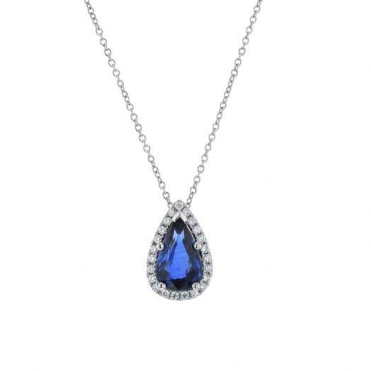 Blue Sapphire Pear Pendant Necklace with Diamond Halo in Platinum