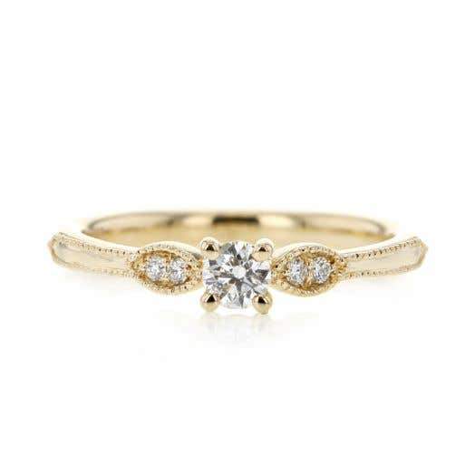 14K Yellow Gold Diamond Ring, Round with Milgrain Band