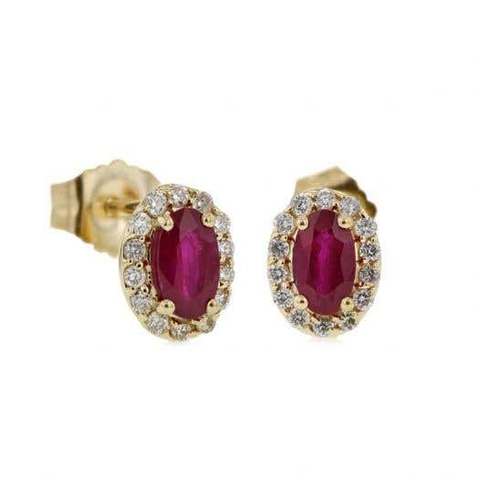 14K Yellow Gold Oval Ruby Stud Earrings with Diamond Halos, TWT .14