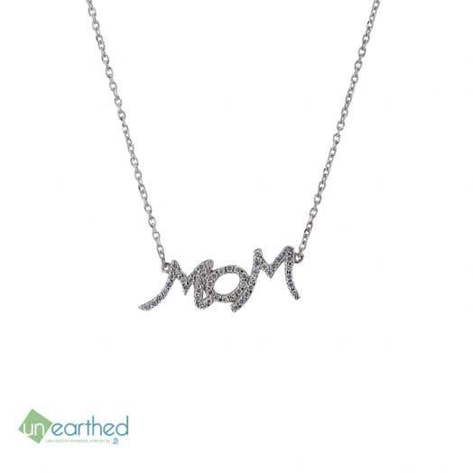 sterling silver chain with lab grown dimond accented mom script pendant