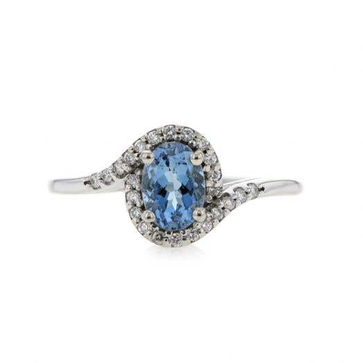 14K White Gold Oval-Cut Aquamarine and Diamond Accented Bypass Ring, TDW.12