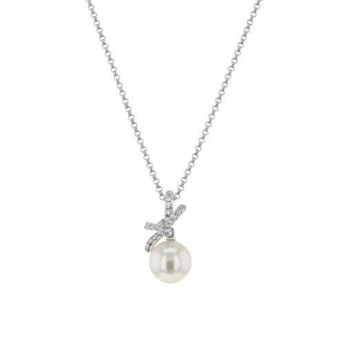 white gold chain with pearl pendant and diamond accented bow