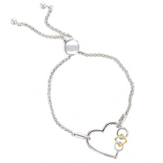 silver bolo bracelet wih heart design and two circles holding yellow tone square