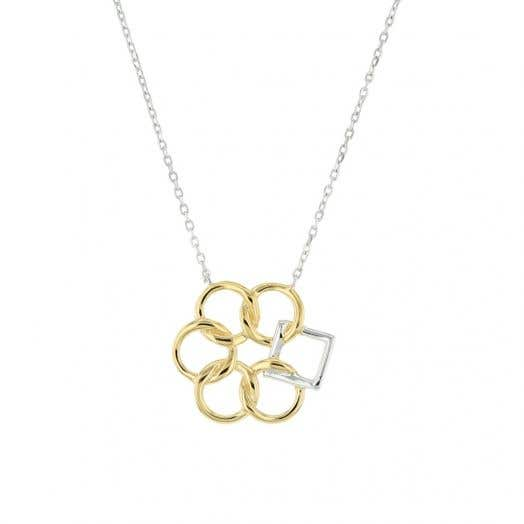 yellow tone circles with silver square suspended from silver chain
