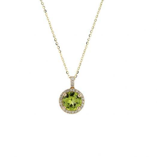 round-cut peridot set in halo of white diamond rounds that extend onto bale suspended from yellow gold chain