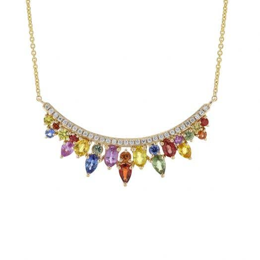 14K White Gold Multi-Colored Sapphire and Diamond Accented Curved Necklace, TDW .19
