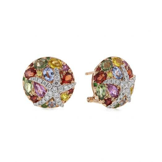 rose gold stud earrings with multi-colored sapphires and diamond accented star designs