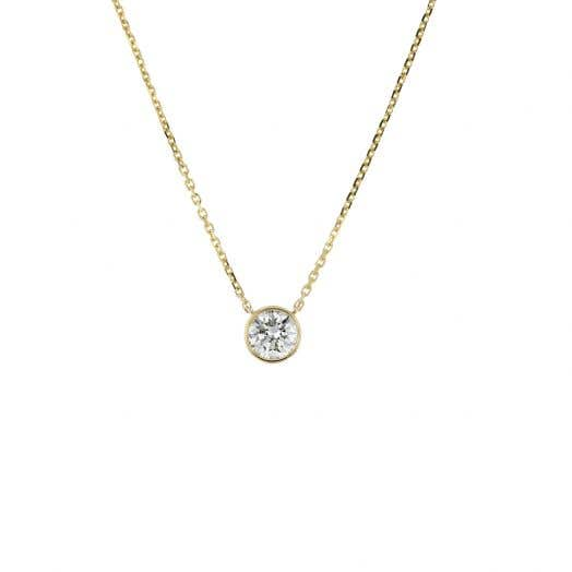bezel set round diamond set in yellow gold hung from yellow gold chain