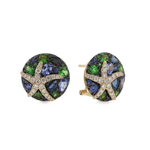 yellow gold earrings with blue and green sapphire and tsavorite stones, diamond accented star designs
