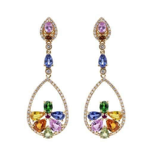 14K Yellow Gold Multi-Colored Sapphire and Diamond Dangle Drop Earrings, TDW .35