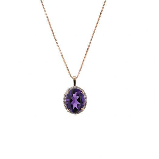 oval cut purple amethyst stone set in halo of white diamond rounds set in rose gold suspended from rose gold box chain