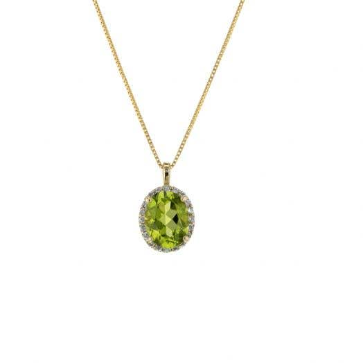 oval cut peridot stone set in halo of white diamond rounds supended from yellow gold bale and box chain