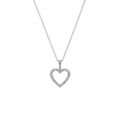 open heart neckalce in white gold with diamond round accents suspended from white gold chain