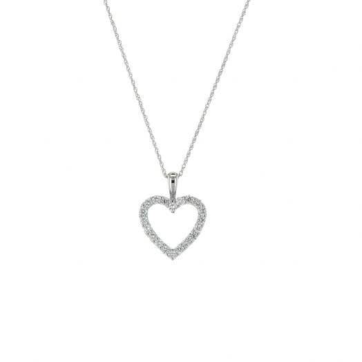 open heart pendant with white diamond rounds set in white gold