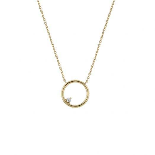 yellow gold necklace with open circle design and floating diamond round