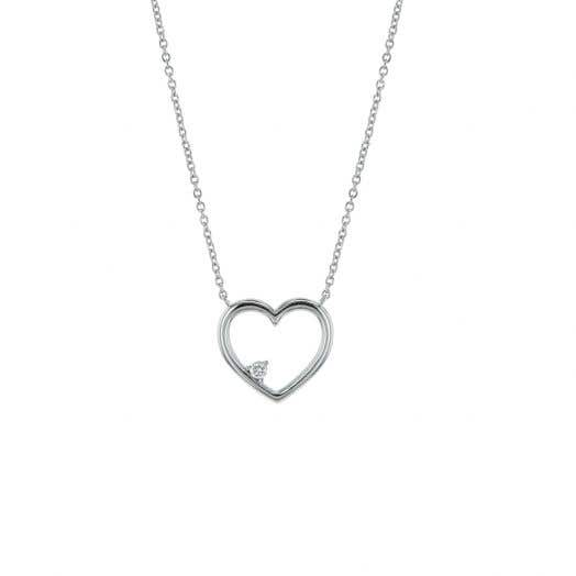 white gold necklace with open heart design with floating white diamond round