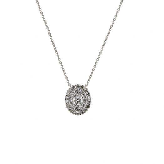 white gold necklace with three tiered halos of white diamond rounds surrounded round center stone