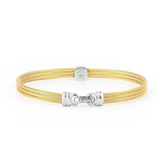 "ALOR ""Classique"" Bangle with Yellow Cable and .05CT Diamond Studded Station.  18K White Gold and Stainless Steel."