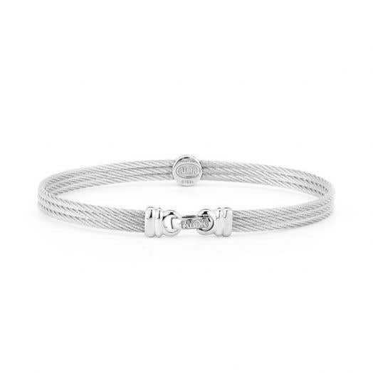 "ALOR ""Classique"" Single-Station Diamond Accented Cable Bracelet, Grey Stainless Steel, .05TDW"