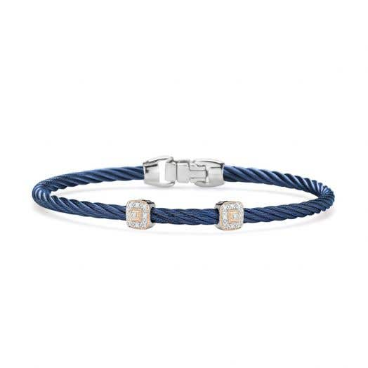 "ALOR ""New Hues"" Two-Station Diamond Accent Cable Bracelet, Blueberry Stainless Steel and 18K Rose Gold, .09TDW"
