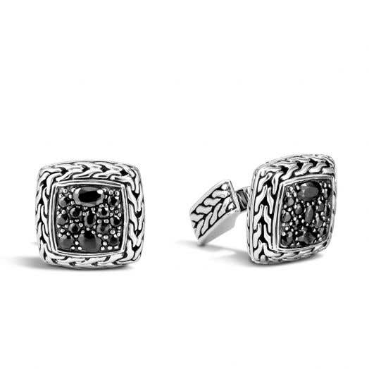 John Hardy Classic Chain Cufflinks with Black Sapphires