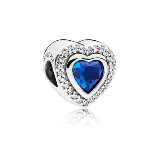 """PANDORA """"Heart"""" Charm in Sterling Silver with Blue Crystals and Clear Cubic Zirconia"""