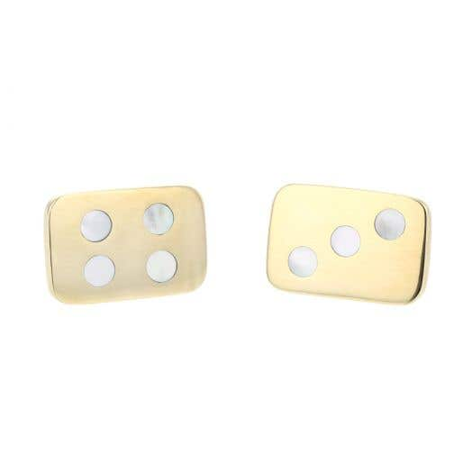 "14K Yellow Gold White Quartz Inlay ""Dice"" Cufflinks"