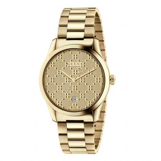 yellow gold watch with diamond face and gucci logo