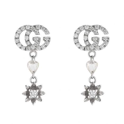 diamond studded double g stud earrings with drop heart and flower