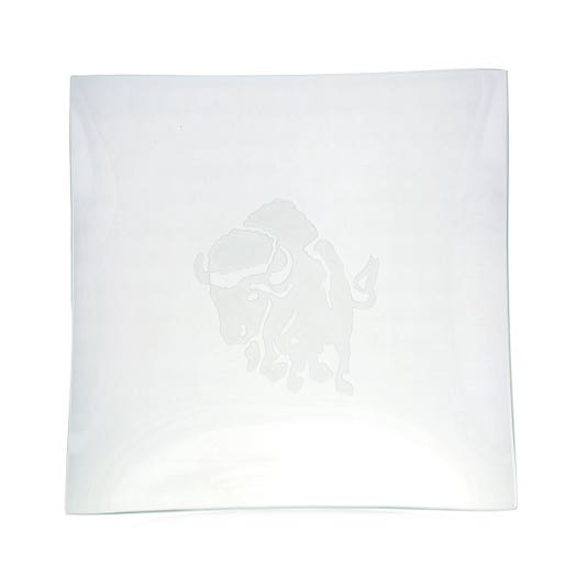 square class tray with etched buffalo design