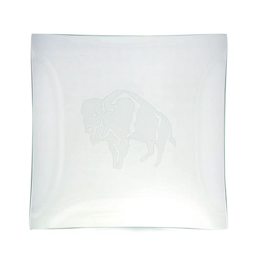 square glass tray with buffalo etched design