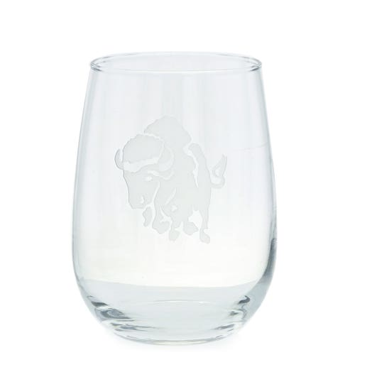 stemless wine glass with charging buffalo etching