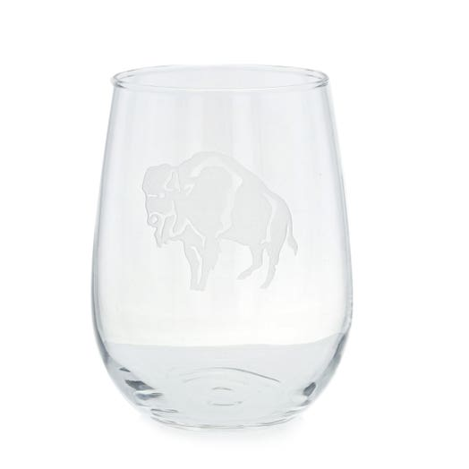 stemless wine glass with standing buffalo etching