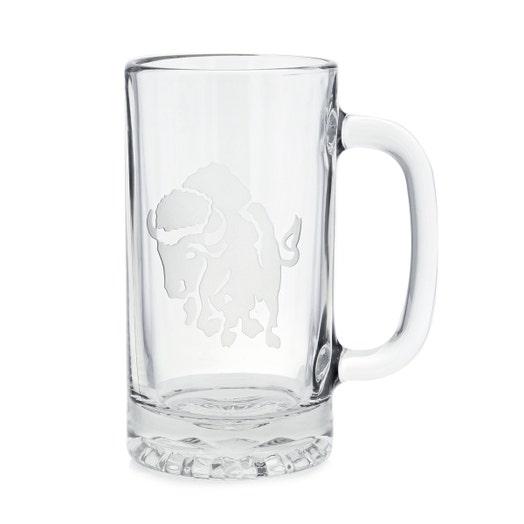 glass tankard with charing buffalo etching