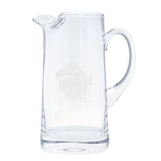 glass pitcher with charging buffalo etching