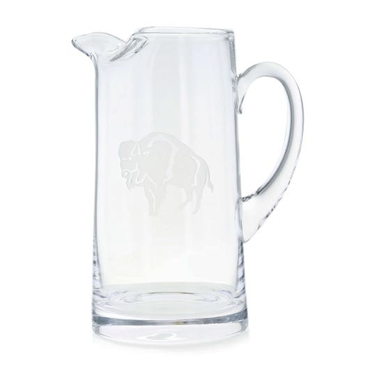 Glass pitcher with standing buffalo etching