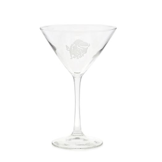 martini glass with charging buffalo etching