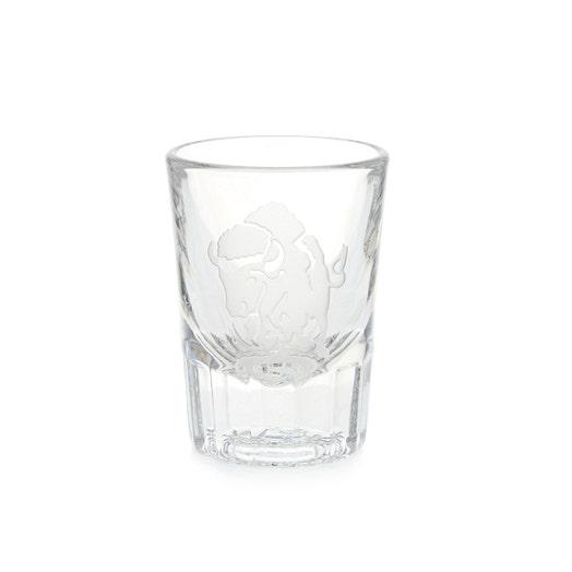 Sterling Cut Glass Charging Buffalo Shot Glass